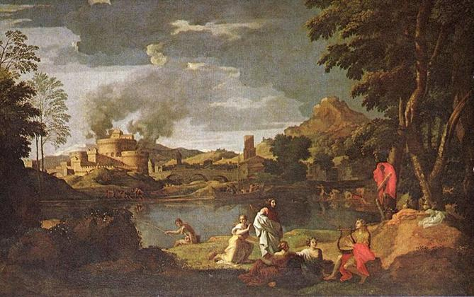 Ficheiro: Nicolas Poussin - Landscape with Orpheus and Eurydice.jpg
