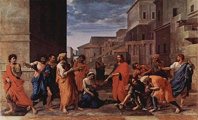 Ficheiro: Nicolas Poussin - Christ and the adulterous woman.jpg