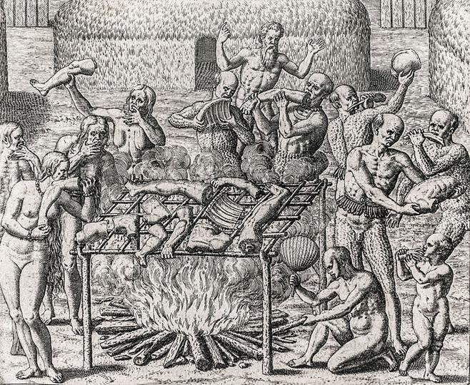 Xilogravura mostrando 12 pessoas segurando várias partes do corpo humano em uma fogueira aberta, onde partes do corpo humano, suspensas em uma tipóia, estão cozinhando.