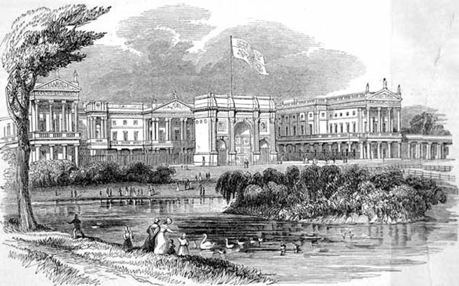 https://upload.wikimedia.org/wikipedia/commons/b/be/Buckingham_Palace_ILN_1842.jpg
