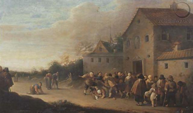 Uma paisagem de aldeia com a distribuição de pão aos pobres - Pieter de Bloot