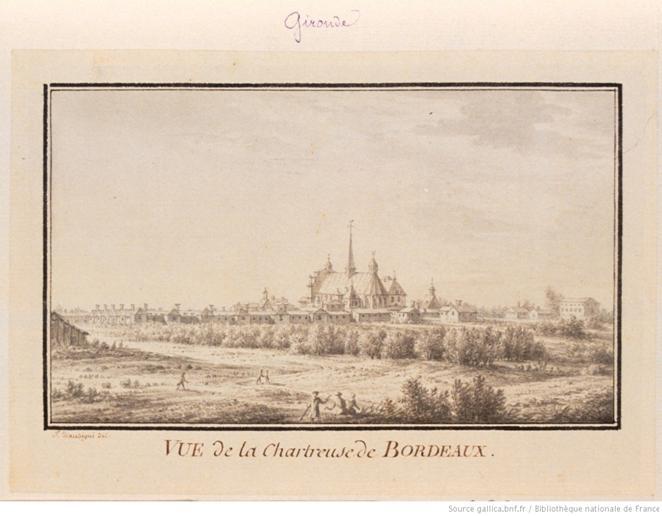 Vue de la Chartreuse de Bordeaux : [dessin] / J. Daubigni del.