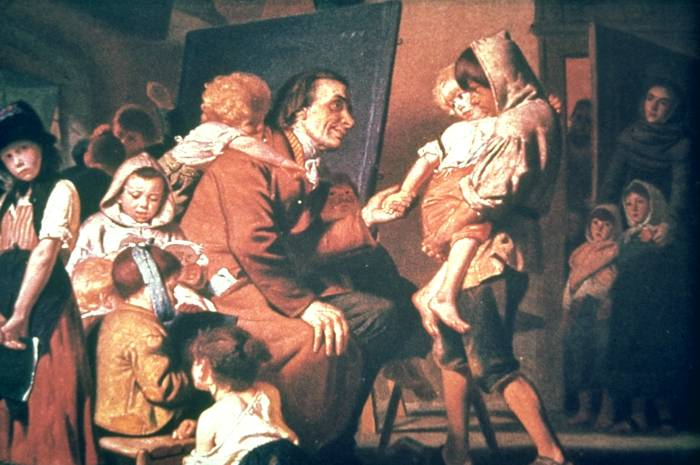 Ficheiro:Pestalozzi with the orphans in Stans.jpg