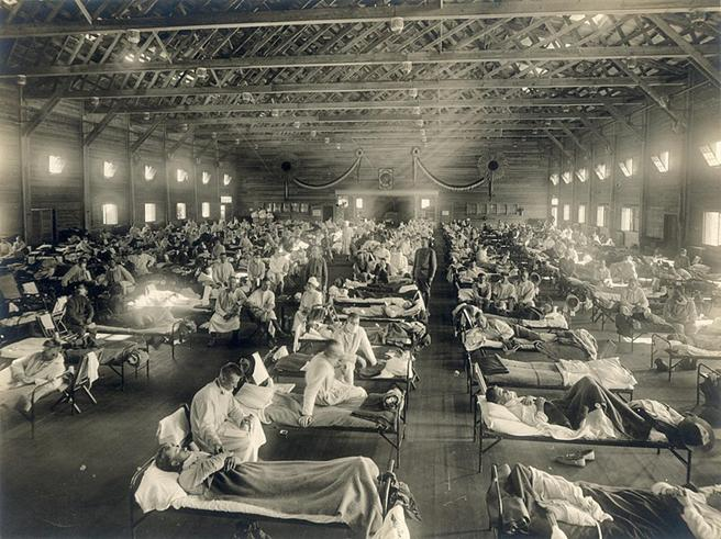 File:Emergency hospital during Influenza epidemic, Camp Funston, Kansas - NCP 1603.jpg