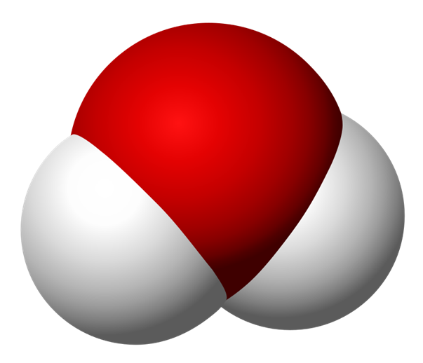 Space filling model of a water molecule