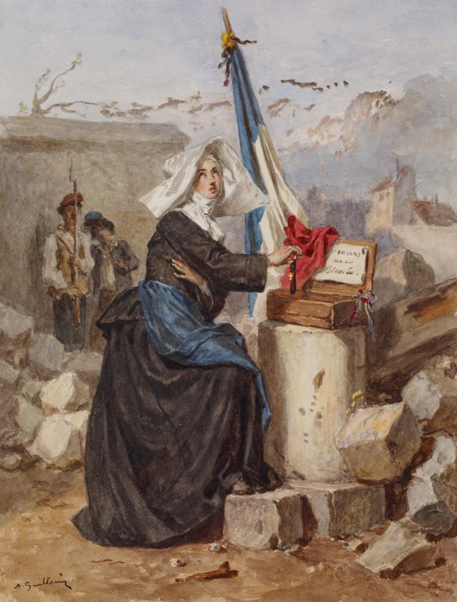 https://upload.wikimedia.org/wikipedia/commons/9/9b/Alexandre-Marie_Guillemin_-_Aid_for_the_Wounded_%28Sister_of_Charity%29_-_Walters_371413.jpg